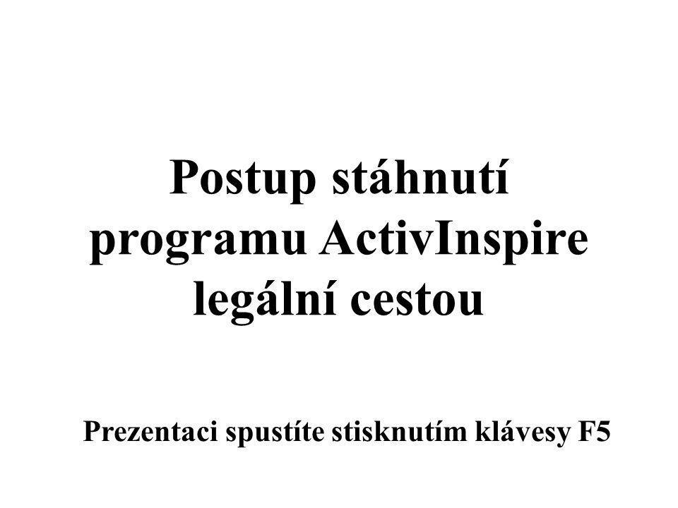 Postup stáhnutí programu ActivInspire legální cestou