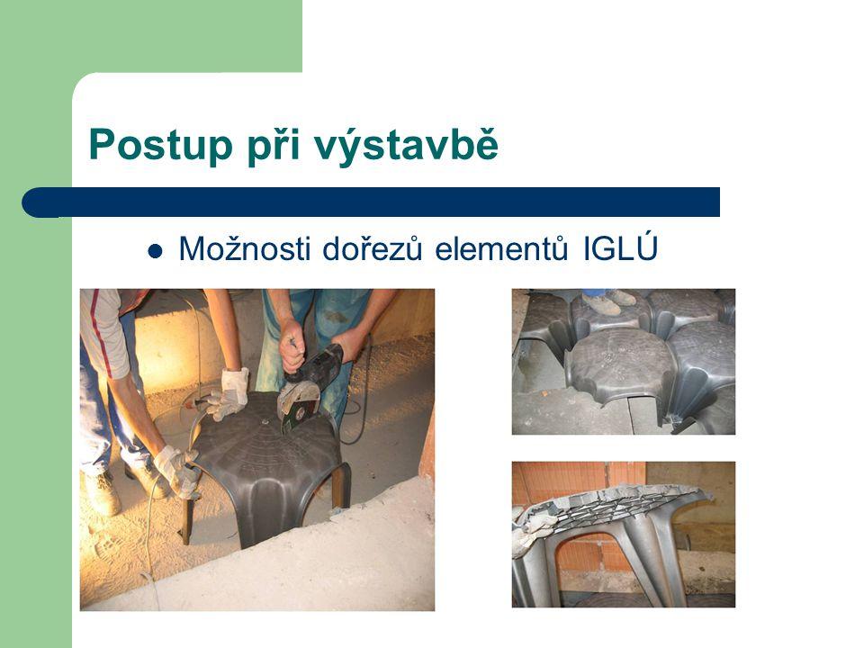 Postup při výstavbě Možnosti dořezů elementů IGLÚ