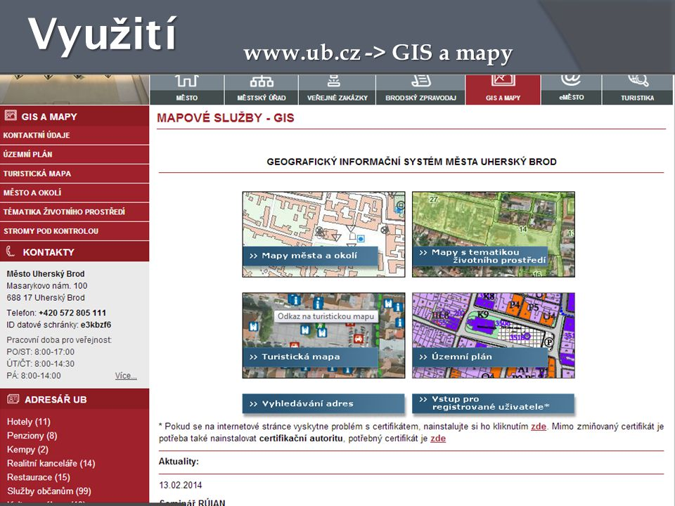 Využití www.ub.cz -> GIS a mapy