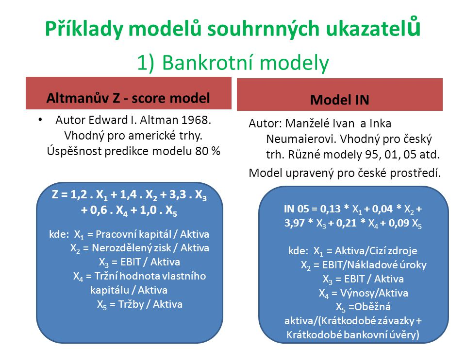 Příklady modelů souhrnných ukazatelů 1) Bankrotní modely