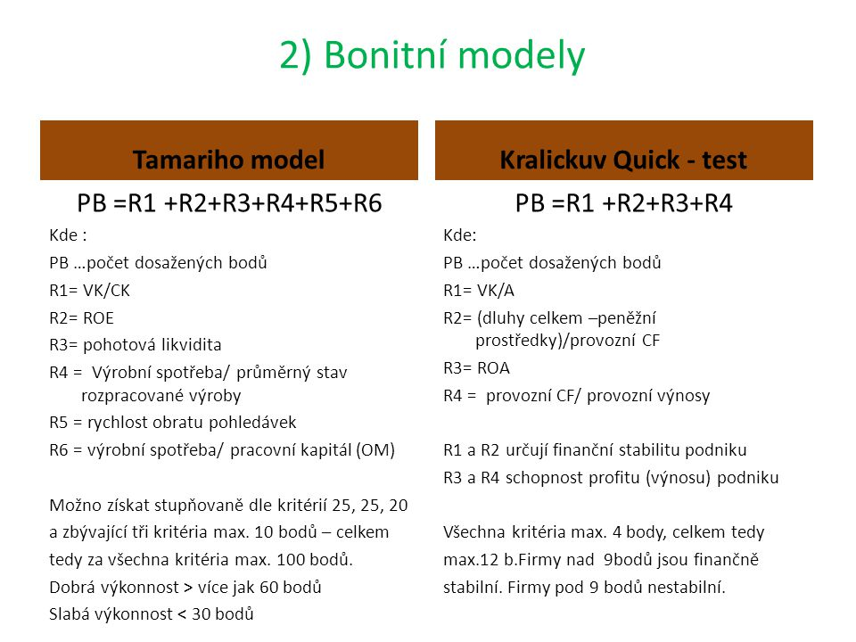2) Bonitní modely Tamariho model Kralickuv Quick - test