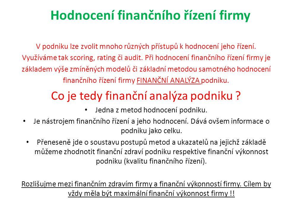 Hodnocení finančního řízení firmy