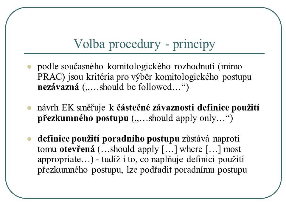 Volba procedury - principy