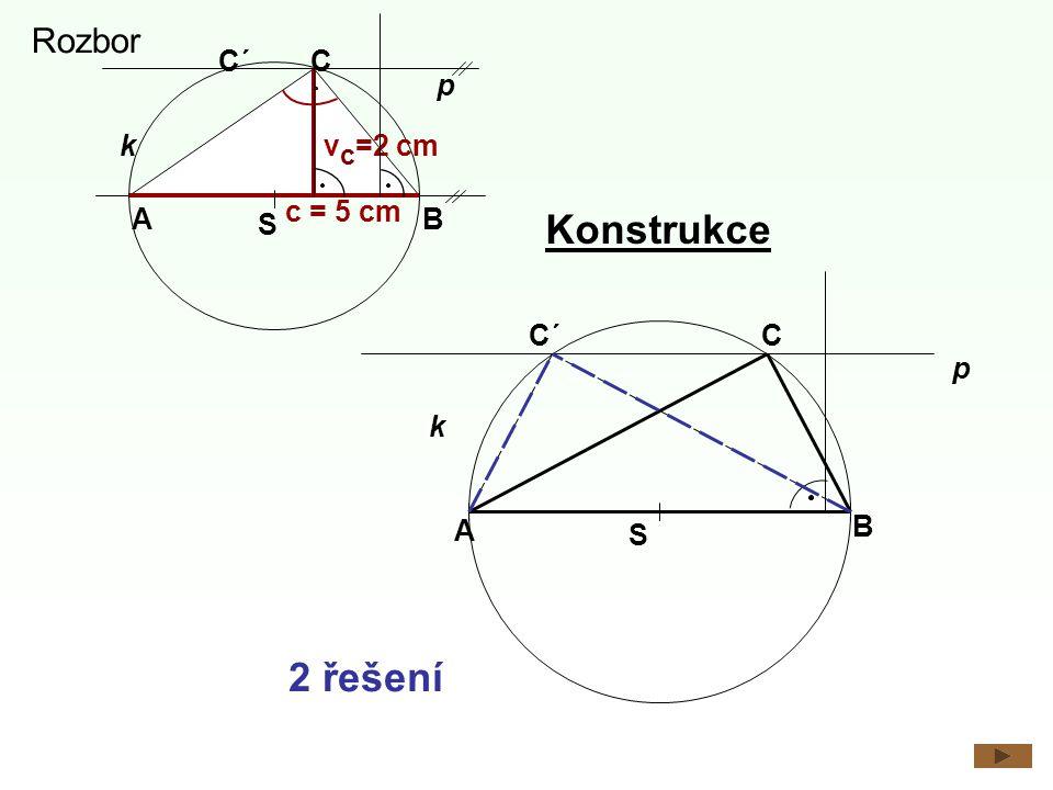 Konstrukce 2 řešení Rozbor C´ C p k vc=2 cm c = 5 cm A S B C´ C p k A