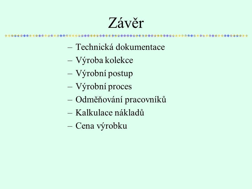 Závěr Technická dokumentace Výroba kolekce Výrobní postup