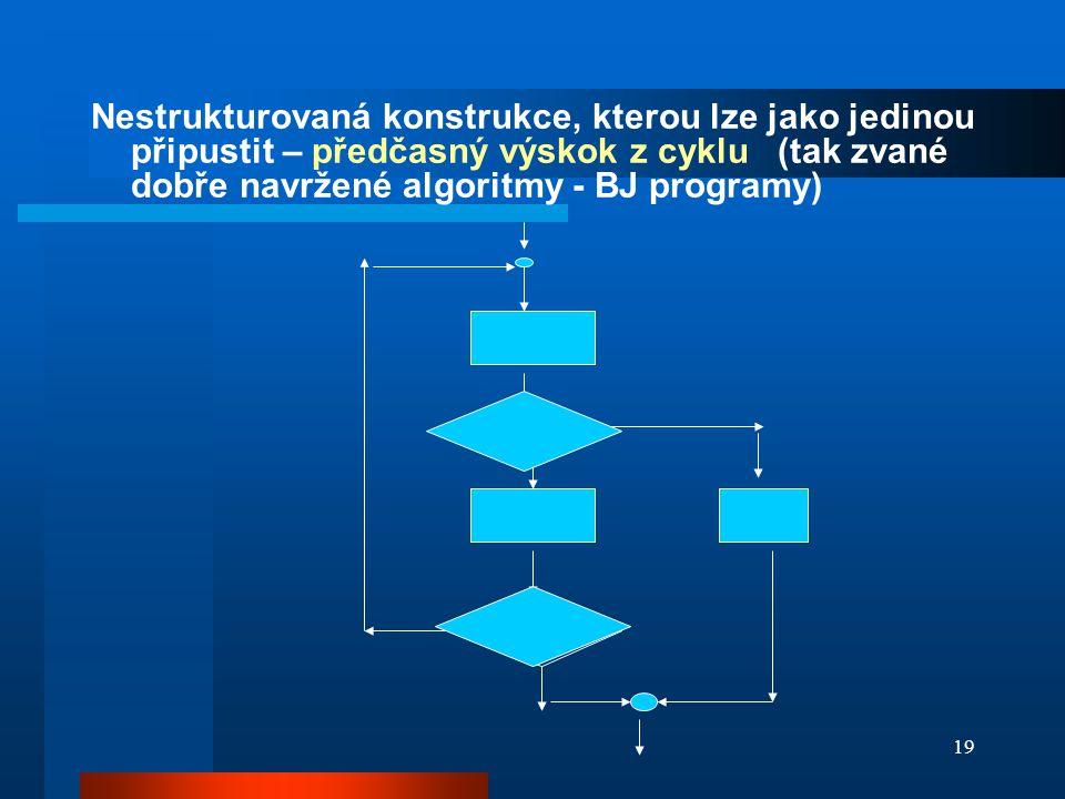 Nestrukturovaná konstrukce, kterou lze jako jedinou připustit – předčasný výskok z cyklu (tak zvané dobře navržené algoritmy - BJ programy)