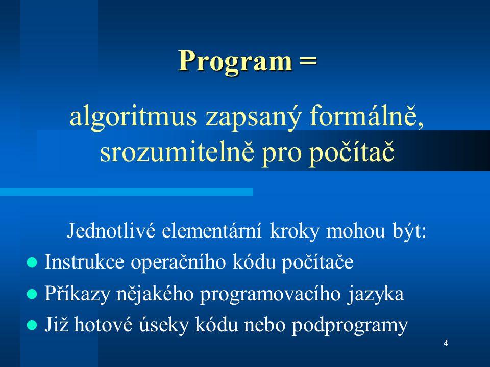 algoritmus zapsaný formálně, srozumitelně pro počítač
