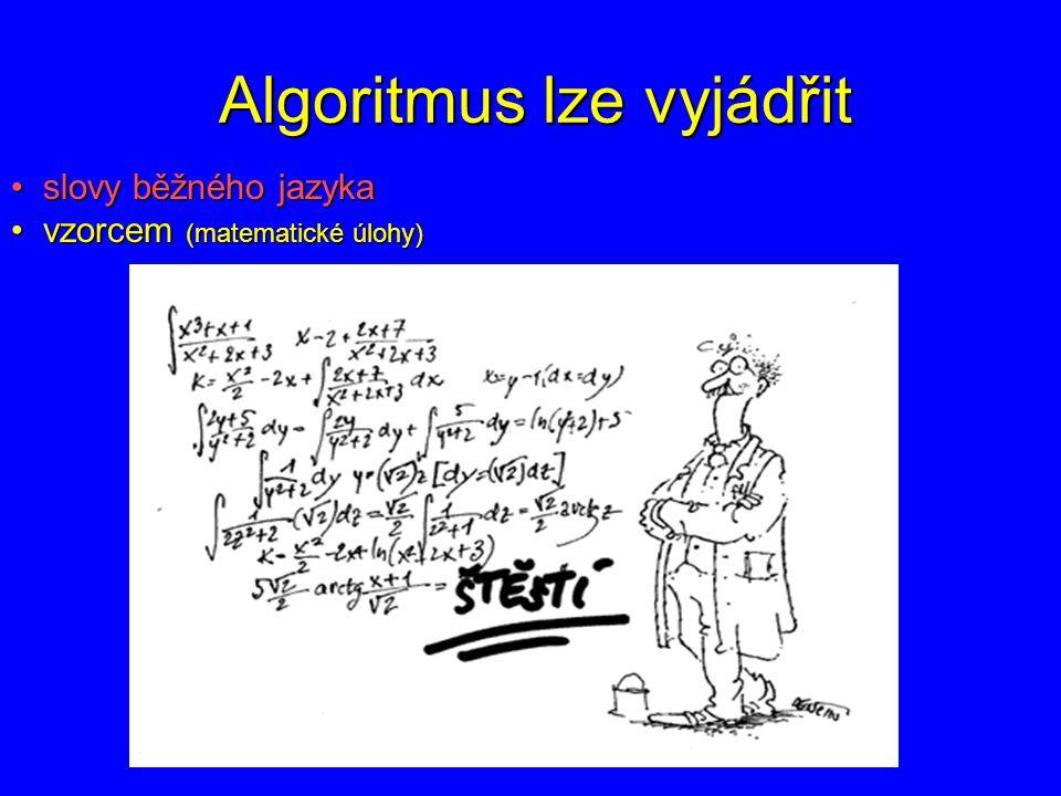 Algoritmus lze vyjádřit