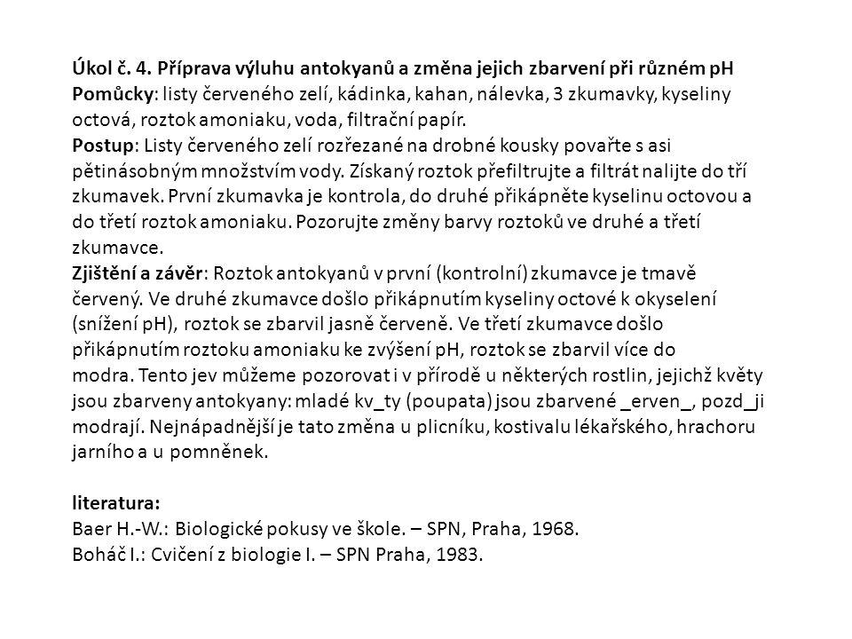 Úkol č. 4. Příprava výluhu antokyanů a změna jejich zbarvení při různém pH
