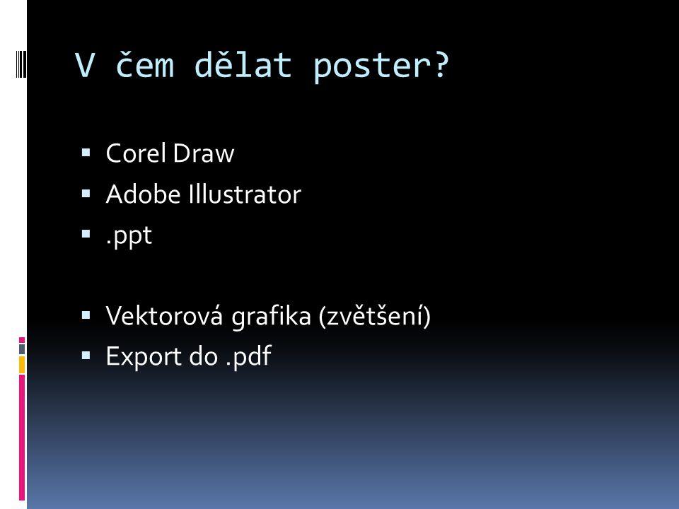V čem dělat poster Corel Draw Adobe Illustrator .ppt