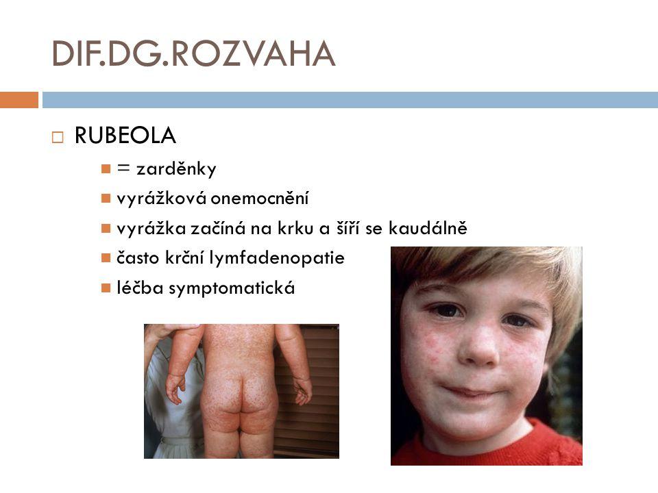 DIF.DG.ROZVAHA RUBEOLA = zarděnky vyrážková onemocnění