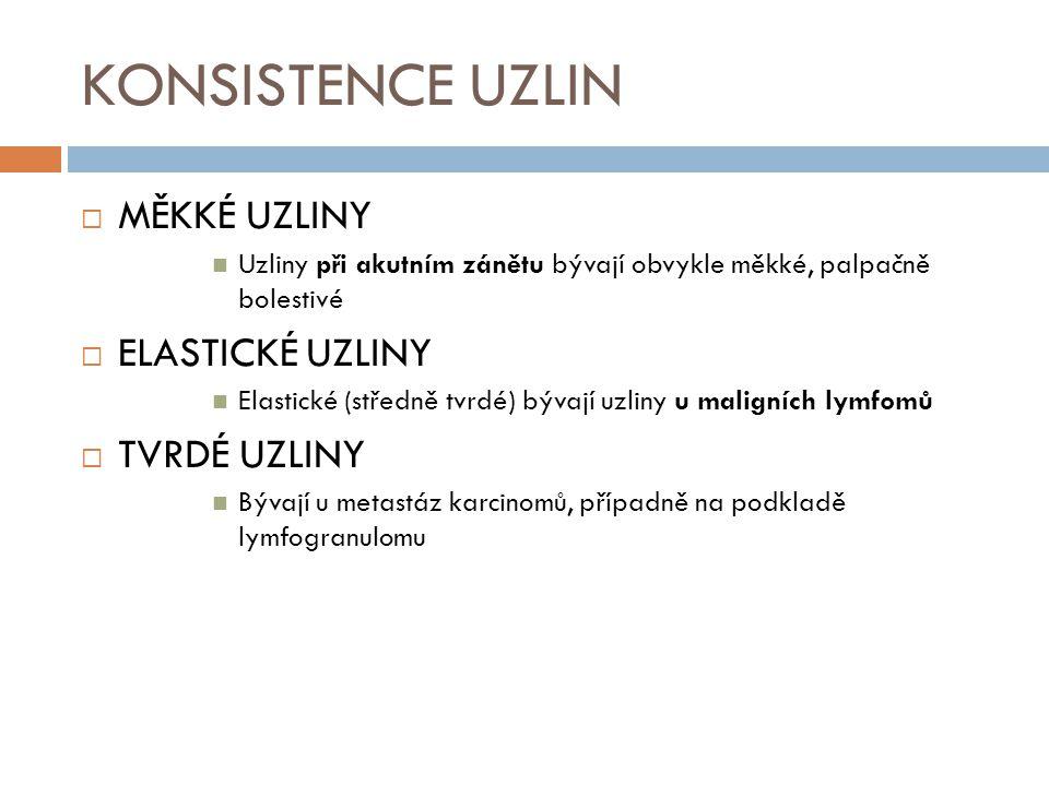 KONSISTENCE UZLIN MĚKKÉ UZLINY ELASTICKÉ UZLINY TVRDÉ UZLINY
