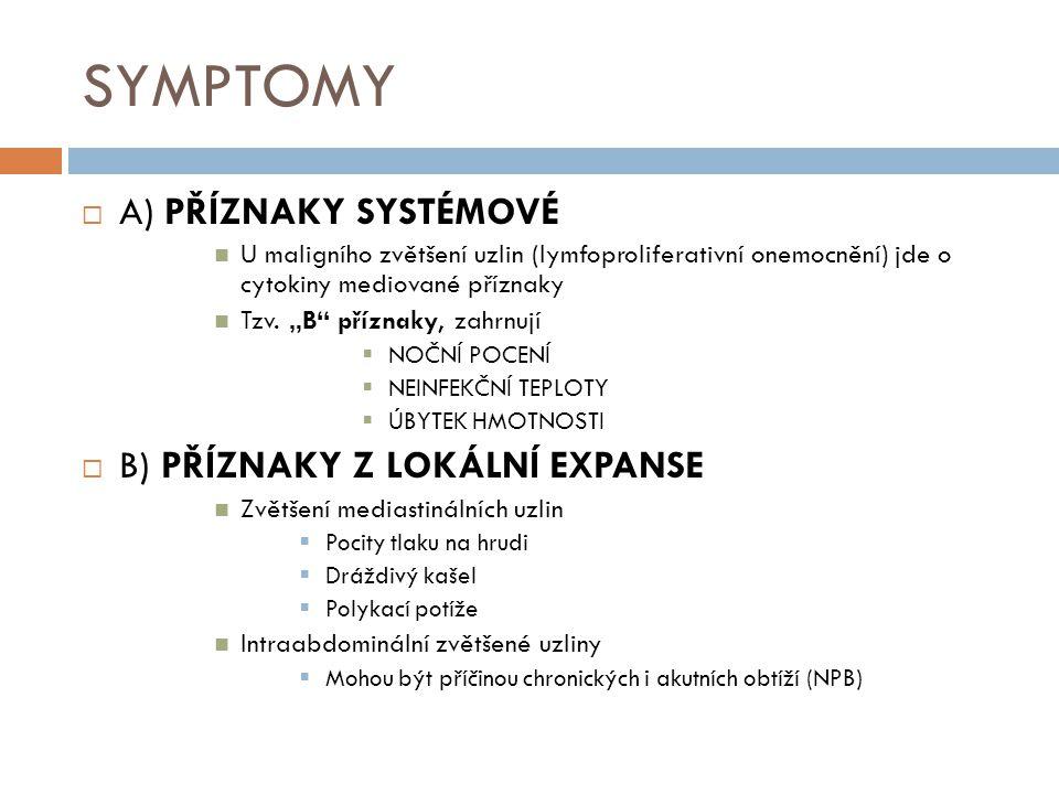 SYMPTOMY A) PŘÍZNAKY SYSTÉMOVÉ B) PŘÍZNAKY Z LOKÁLNÍ EXPANSE