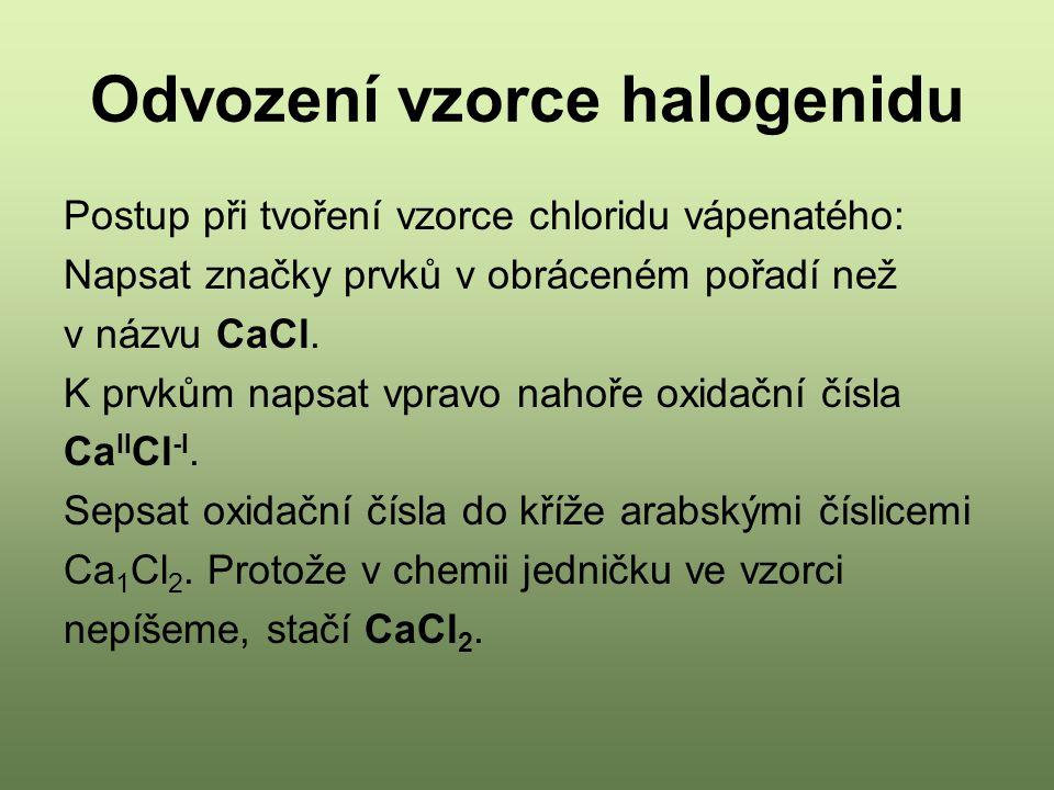 Odvození vzorce halogenidu