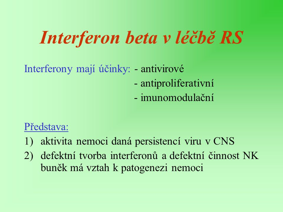 Interferon beta v léčbě RS