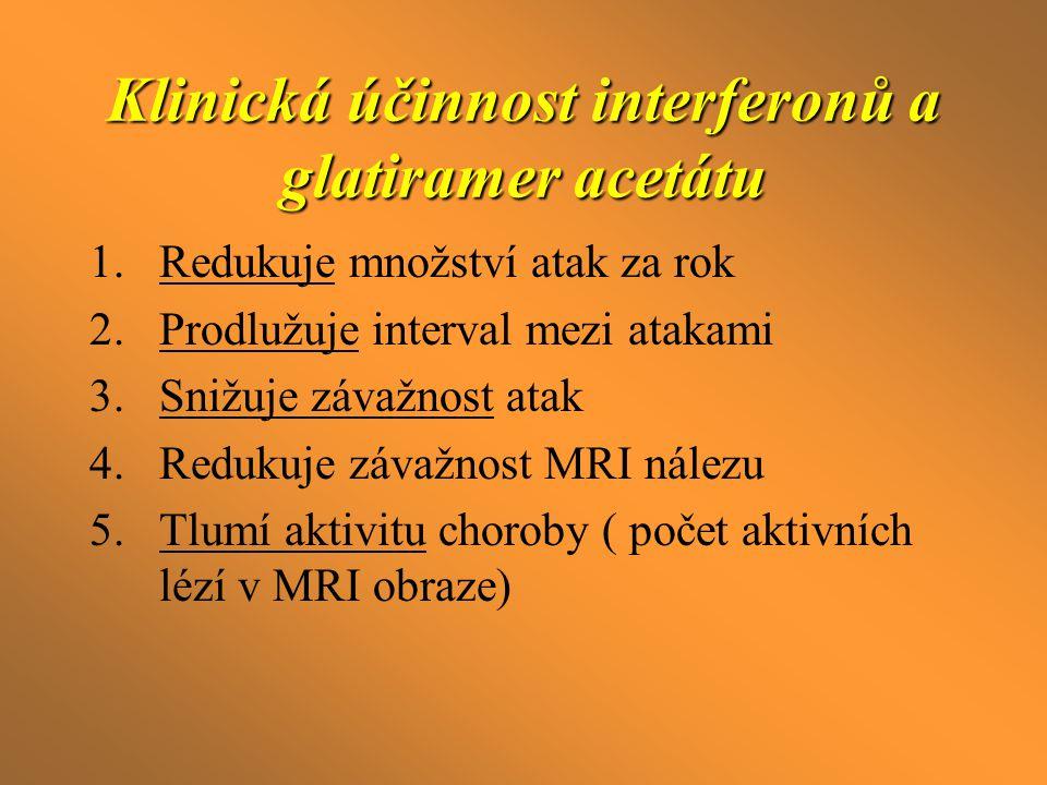 Klinická účinnost interferonů a glatiramer acetátu