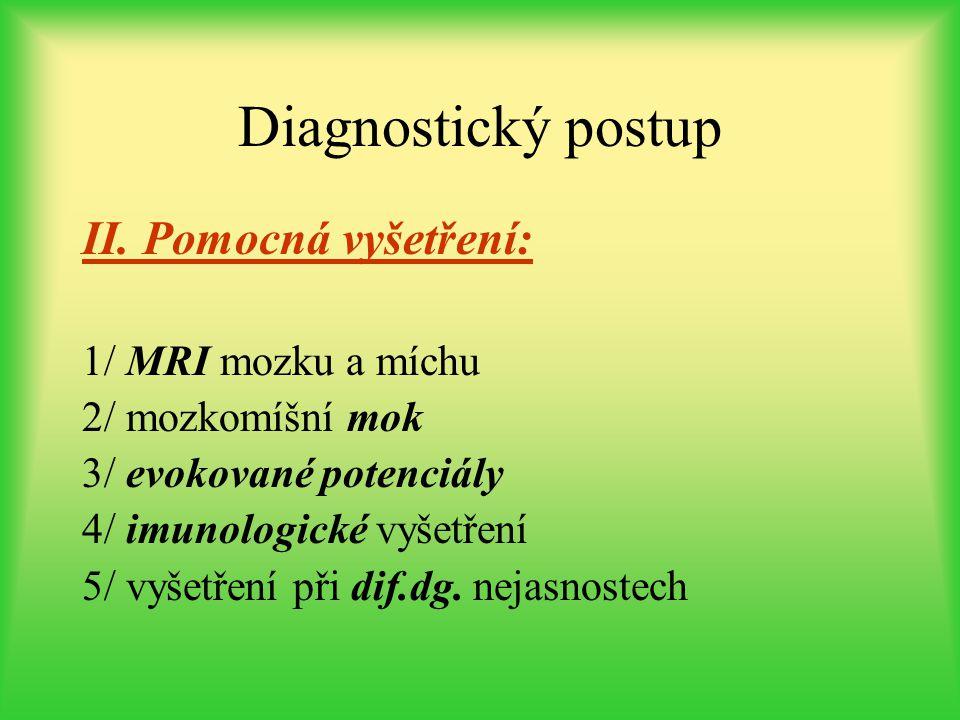 Diagnostický postup II. Pomocná vyšetření: 1/ MRI mozku a míchu