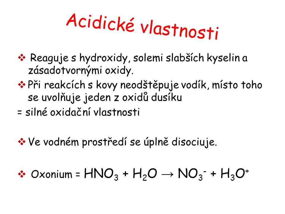 Acidické vlastnosti Reaguje s hydroxidy, solemi slabších kyselin a zásadotvornými oxidy.