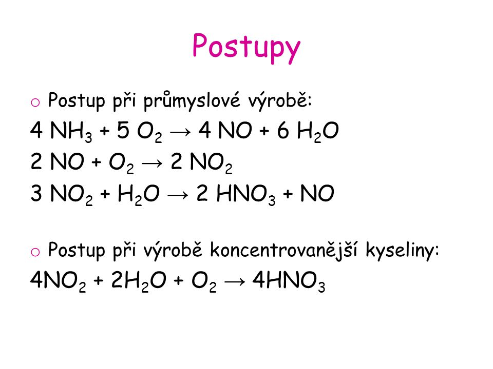 Postupy 4 NH3 + 5 O2 → 4 NO + 6 H2O 2 NO + O2 → 2 NO2