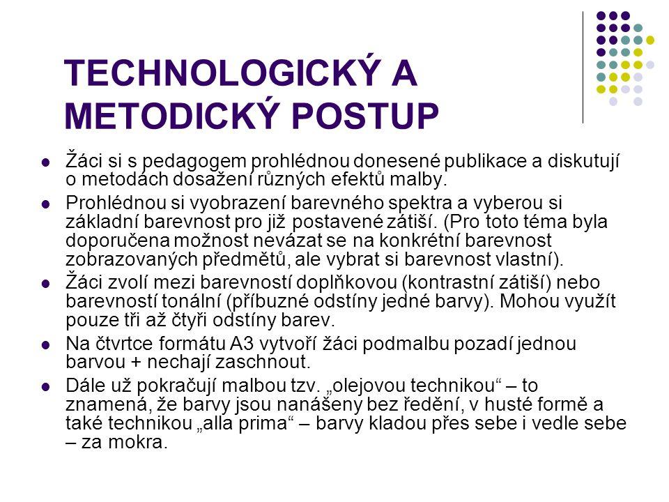 TECHNOLOGICKÝ A METODICKÝ POSTUP