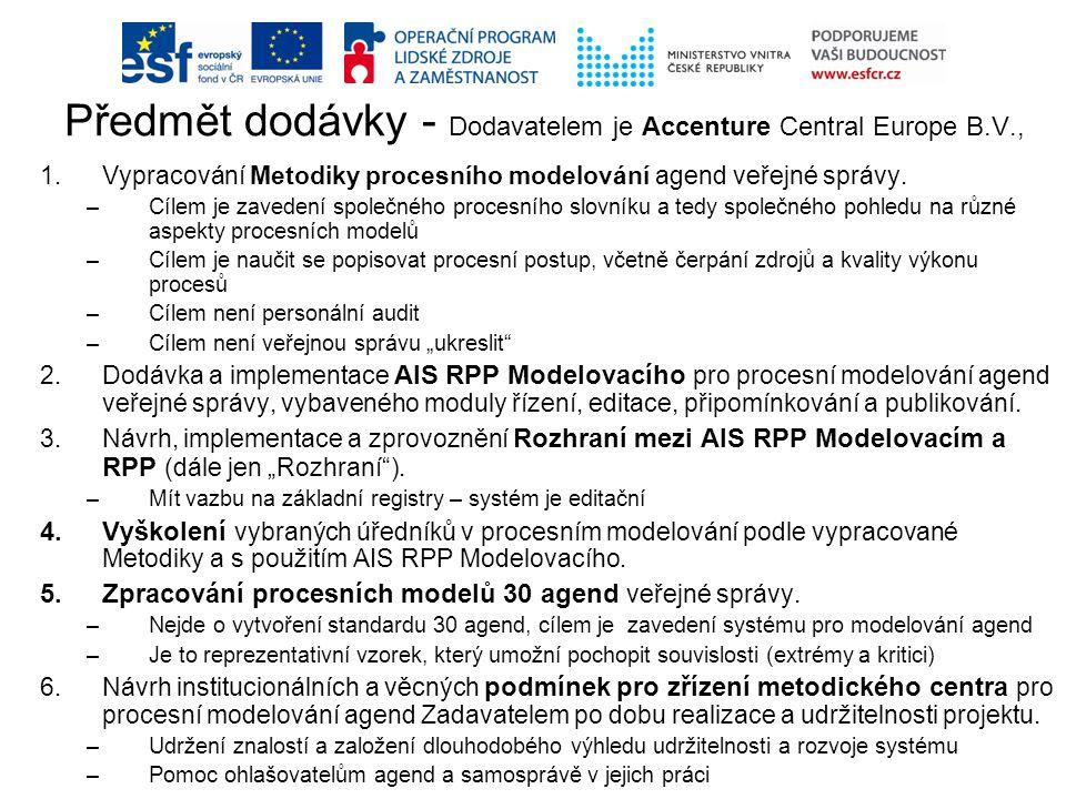 Předmět dodávky - Dodavatelem je Accenture Central Europe B.V.,