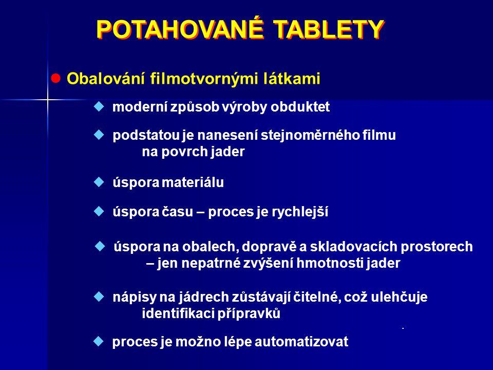 POTAHOVANÉ TABLETY  Obalování filmotvornými látkami