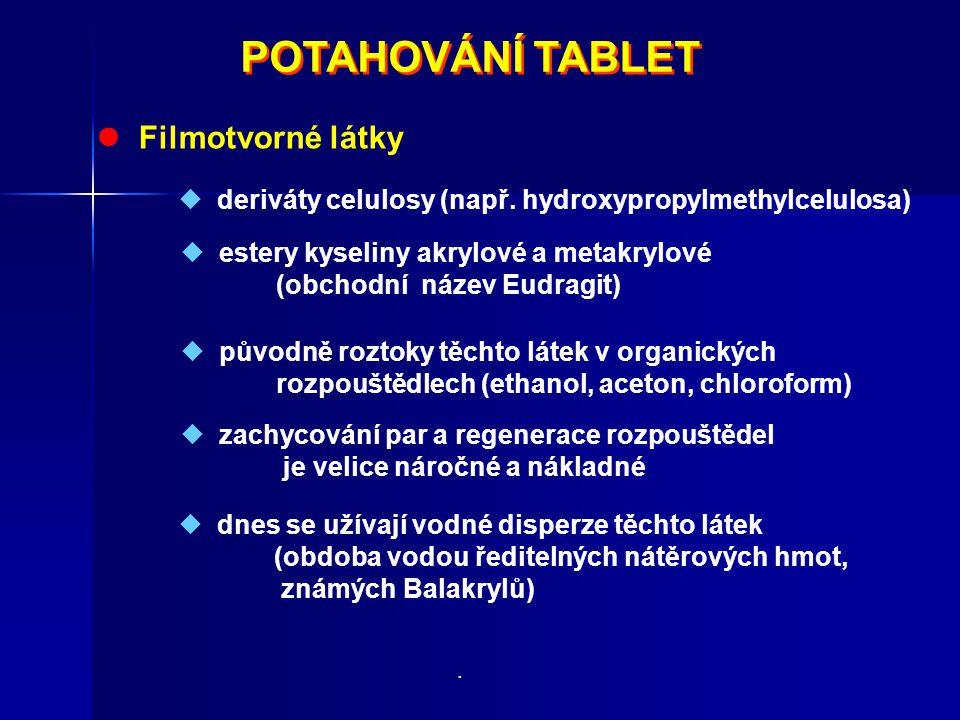 POTAHOVÁNÍ TABLET  Filmotvorné látky