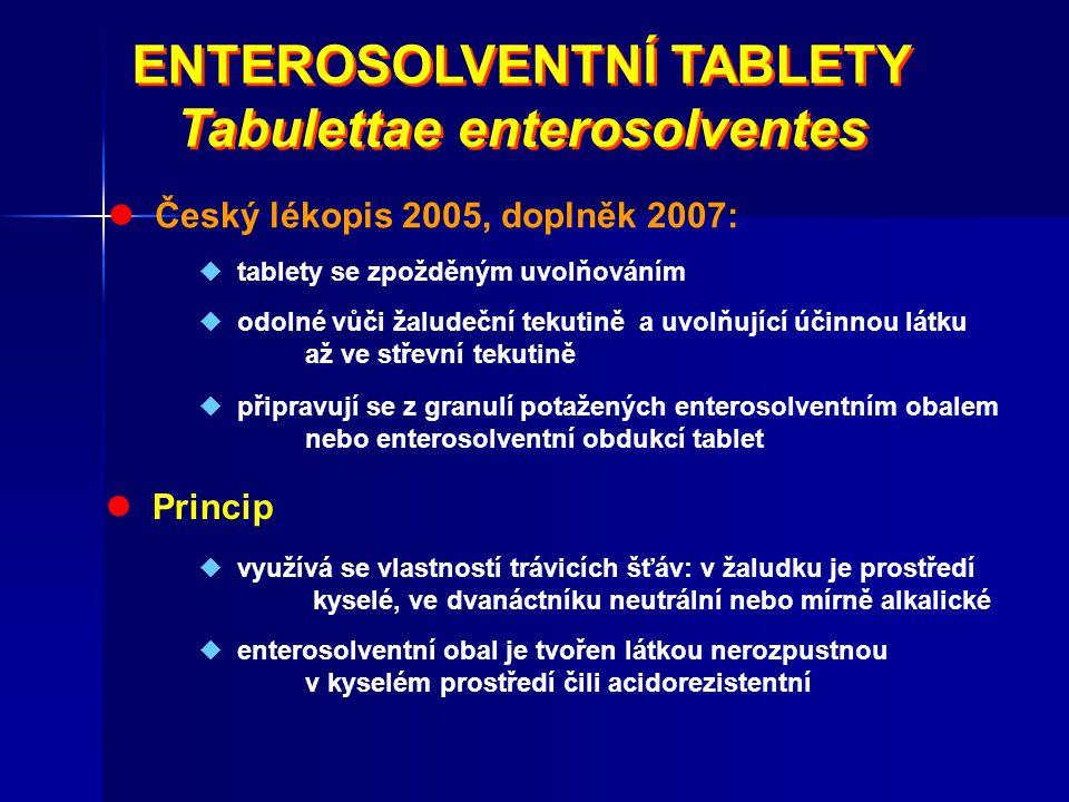 ENTEROSOLVENTNÍ TABLETY Tabulettae enterosolventes