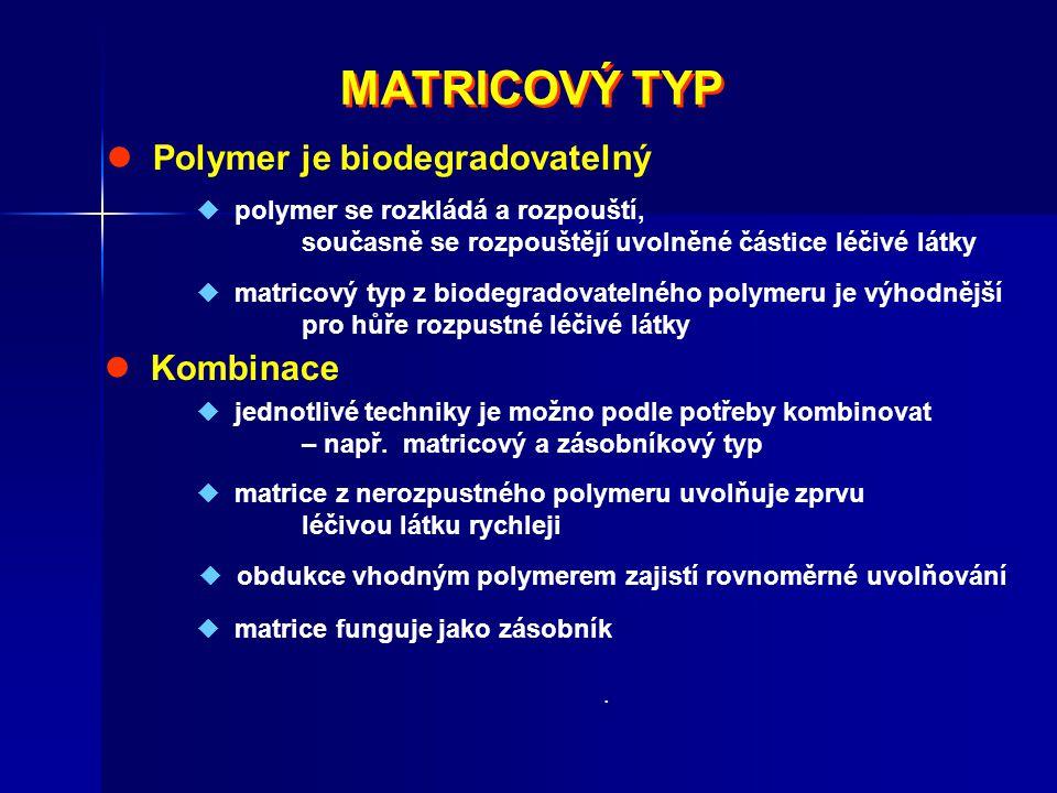 MATRICOVÝ TYP  Polymer je biodegradovatelný  Kombinace