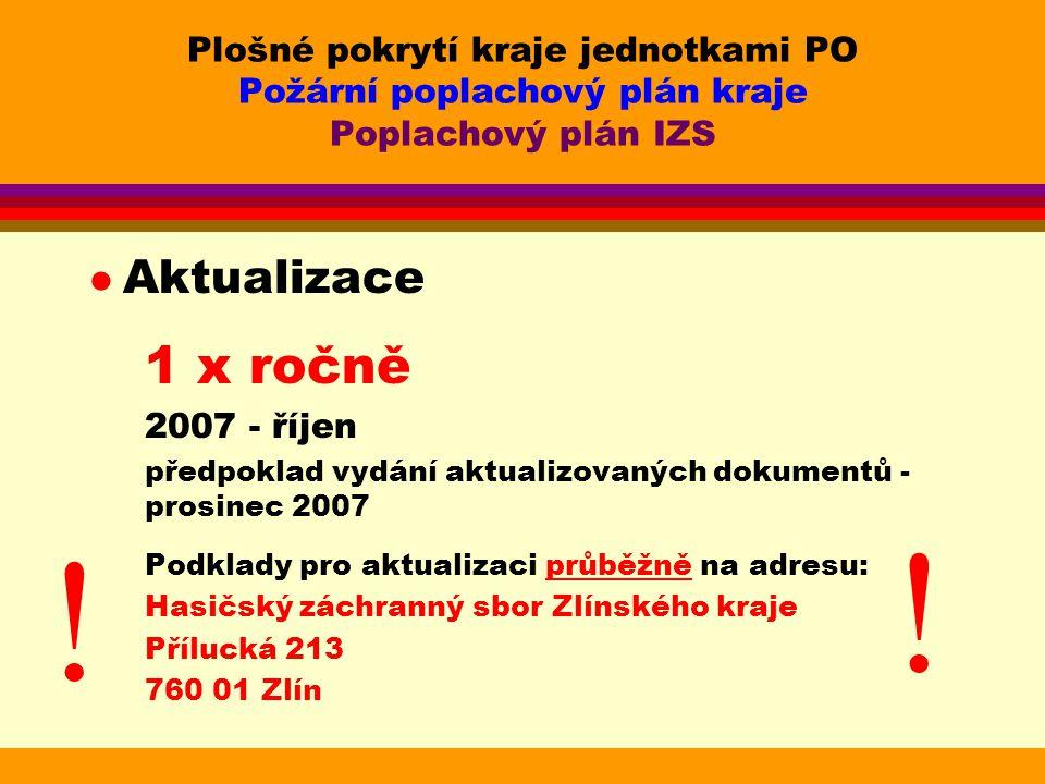 Plošné pokrytí kraje jednotkami PO Požární poplachový plán kraje Poplachový plán IZS
