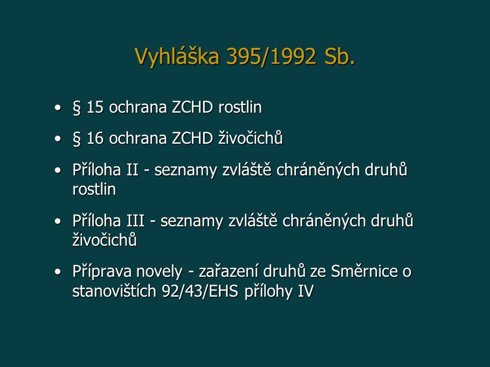 Vyhláška 395/1992 Sb. § 15 ochrana ZCHD rostlin