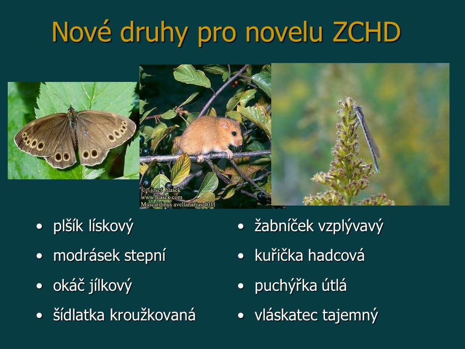 Nové druhy pro novelu ZCHD