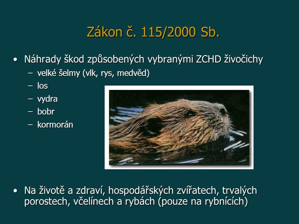 Zákon č. 115/2000 Sb. Náhrady škod způsobených vybranými ZCHD živočichy. velké šelmy (vlk, rys, medvěd)