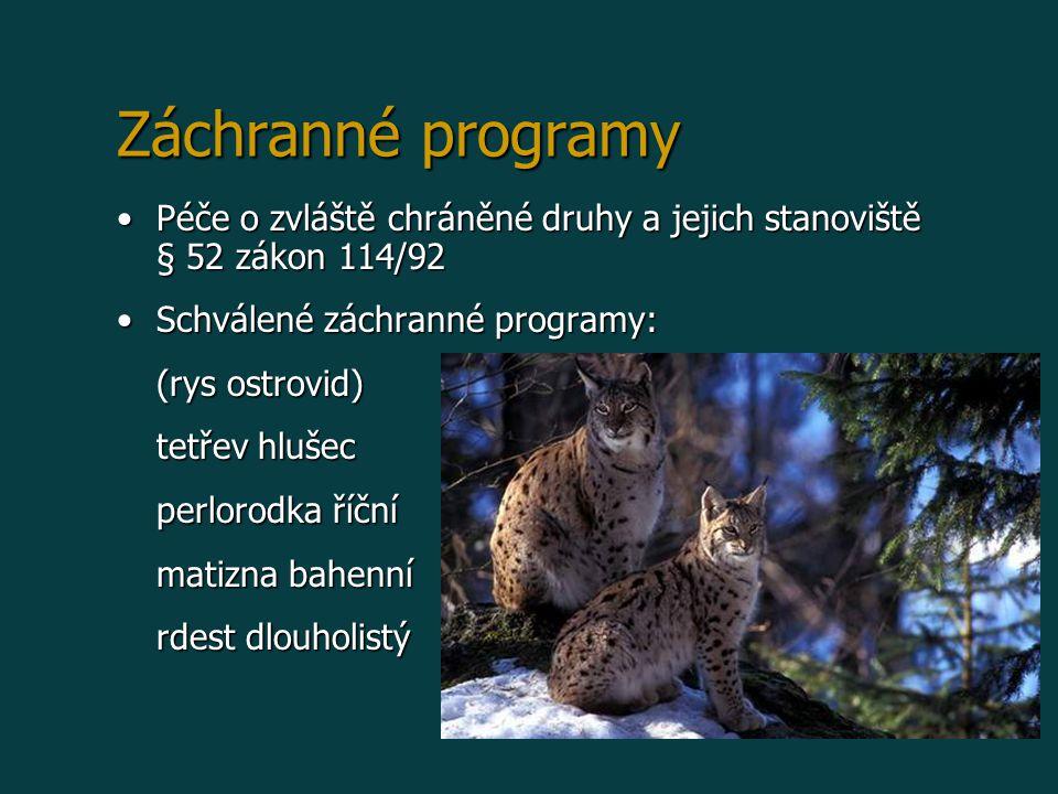 Záchranné programy Péče o zvláště chráněné druhy a jejich stanoviště § 52 zákon 114/92. Schválené záchranné programy: