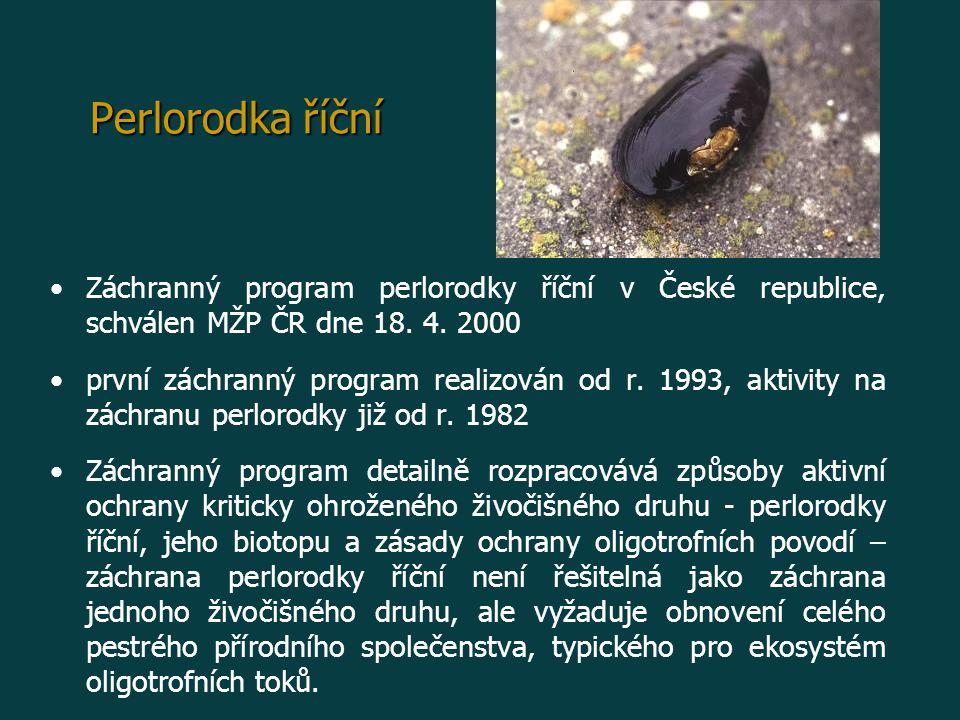 Perlorodka říční Záchranný program perlorodky říční v České republice, schválen MŽP ČR dne 18. 4. 2000.