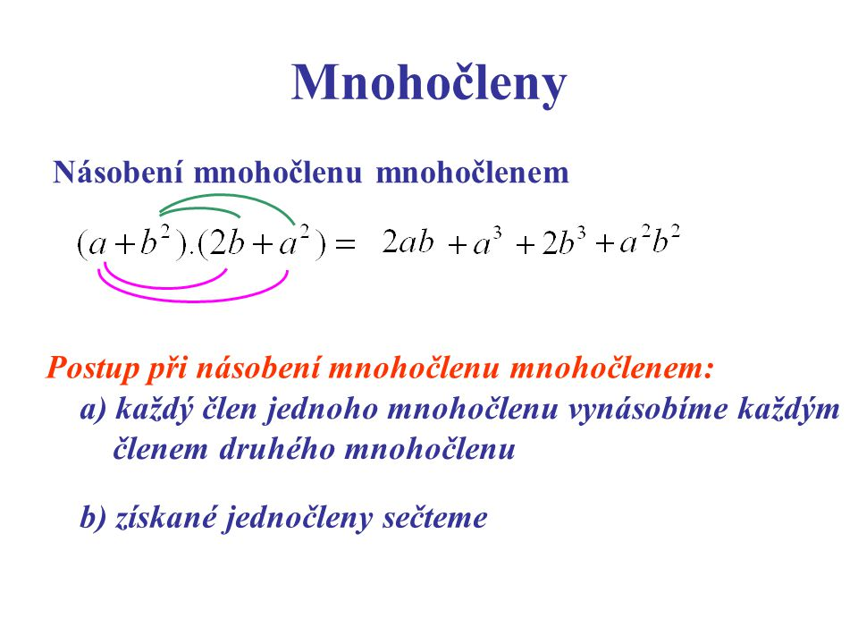 Mnohočleny Násobení mnohočlenu mnohočlenem