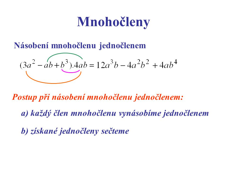 Mnohočleny Násobení mnohočlenu jednočlenem