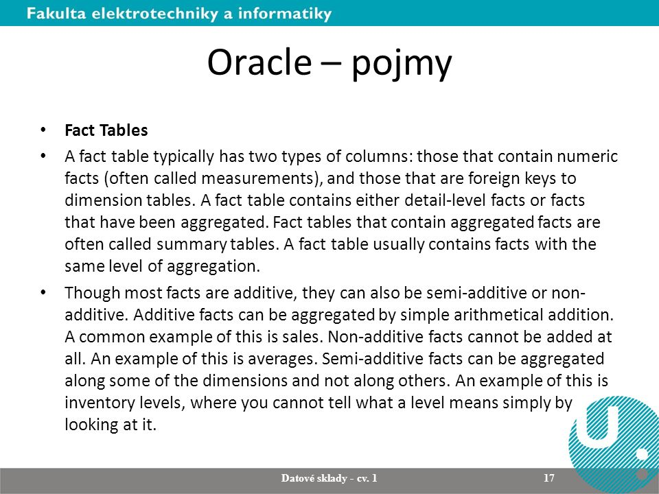 Oracle – pojmy Fact Tables