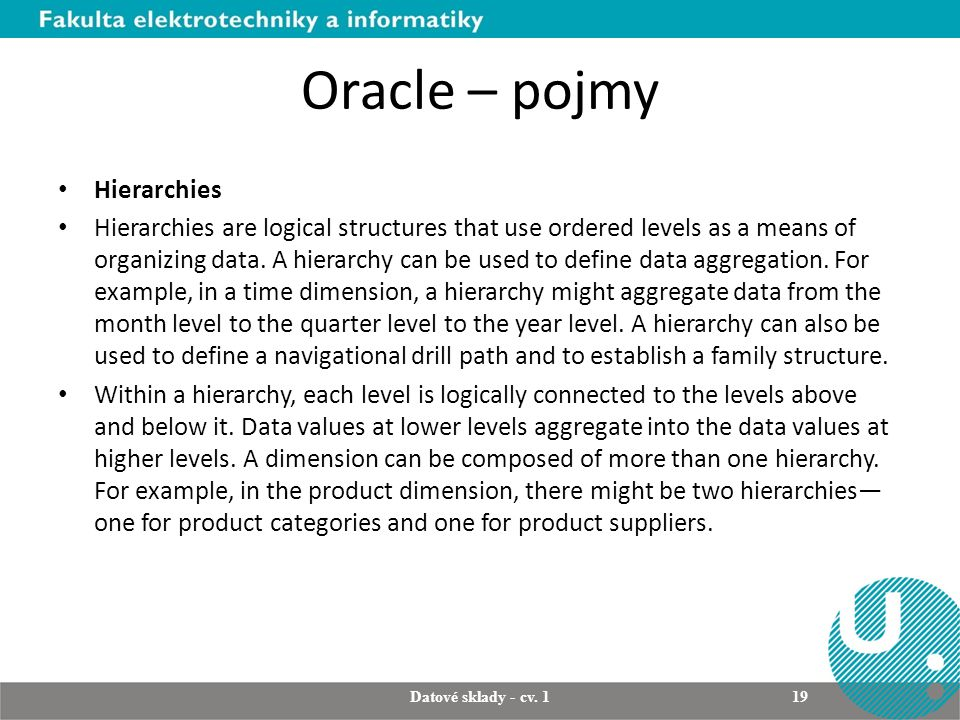 Oracle – pojmy Hierarchies