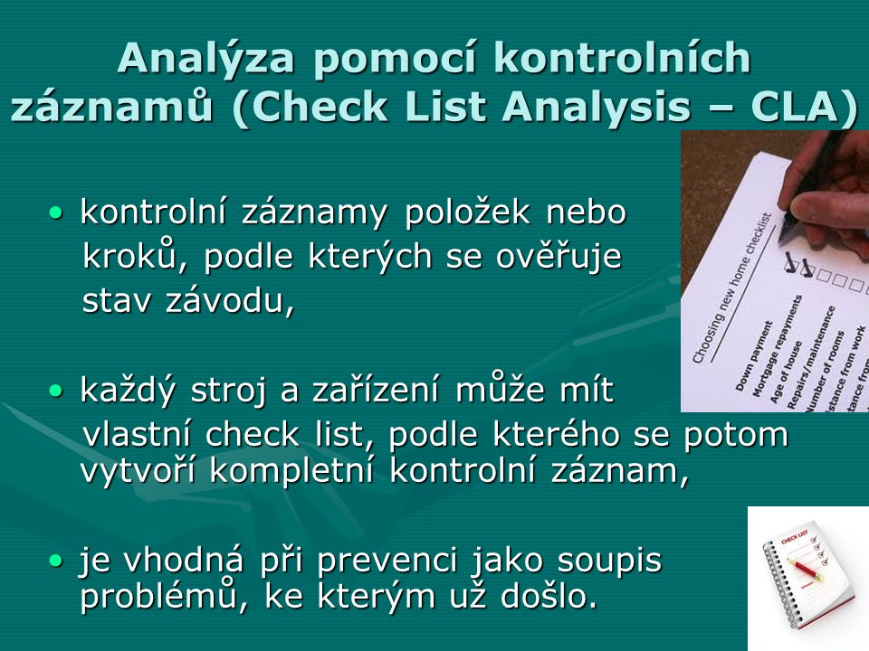 Analýza pomocí kontrolních záznamů (Check List Analysis – CLA)