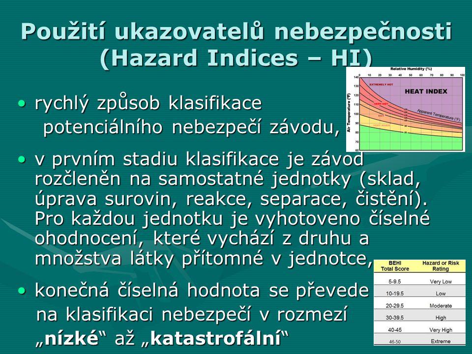 Použití ukazovatelů nebezpečnosti (Hazard Indices – HI)