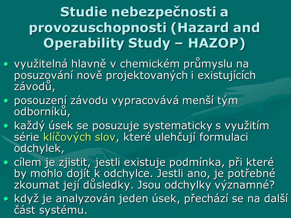 Studie nebezpečnosti a provozuschopnosti (Hazard and Operability Study – HAZOP)