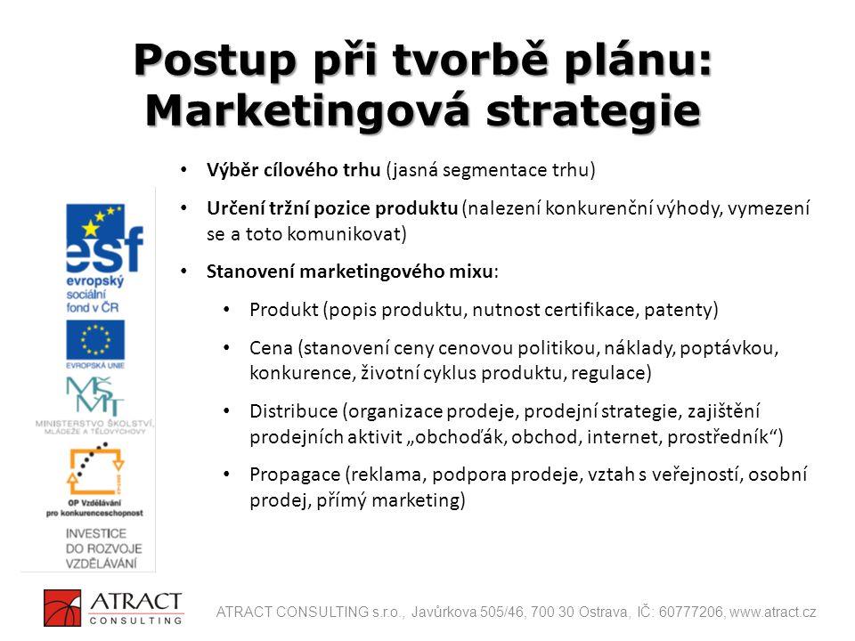 Postup při tvorbě plánu: Marketingová strategie