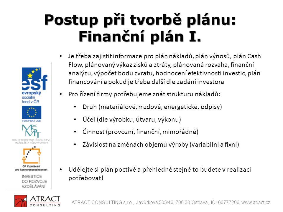 Postup při tvorbě plánu: Finanční plán I.