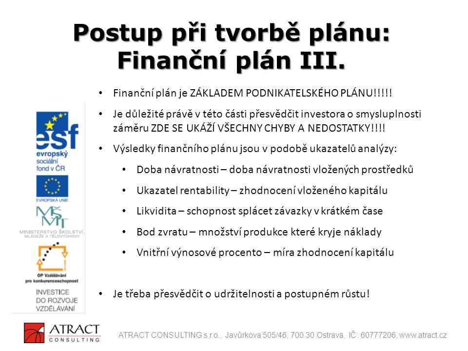 Postup při tvorbě plánu: Finanční plán III.