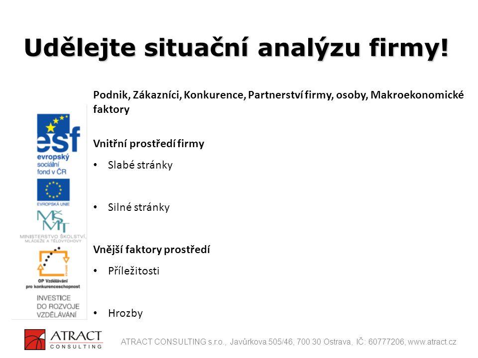 Udělejte situační analýzu firmy!