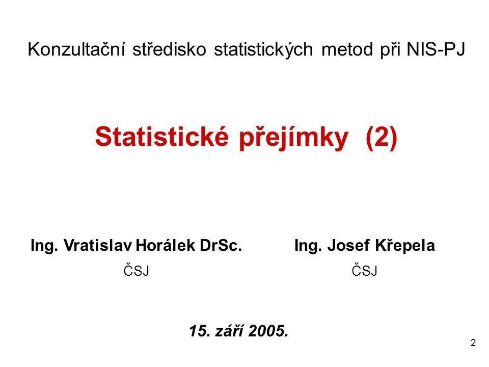 Statistické přejímky (2) Ing. Vratislav Horálek DrSc.
