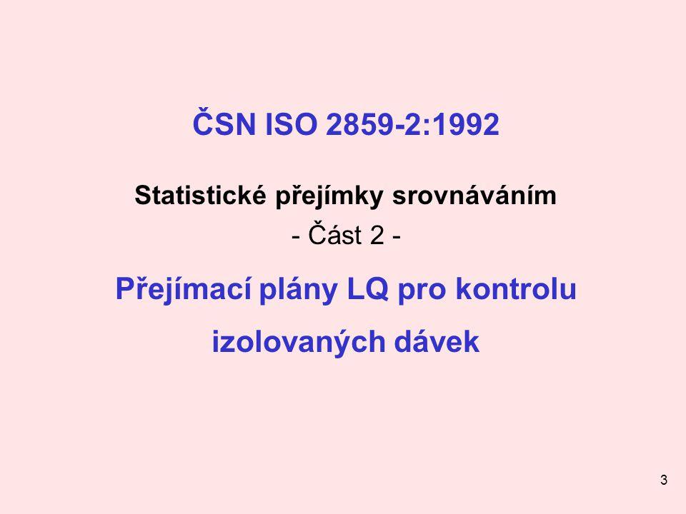 Statistické přejímky srovnáváním Přejímací plány LQ pro kontrolu