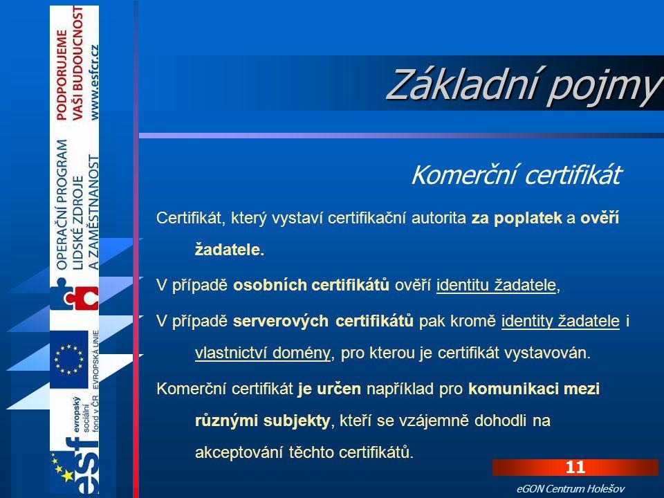 Základní pojmy Komerční certifikát