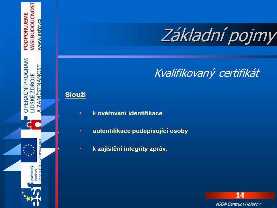 Základní pojmy Kvalifikovaný certifikát Slouží